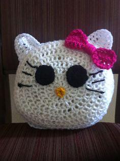 Handmade hello kitty crochet pillow by DesignsbyTiffanyJ on Etsy