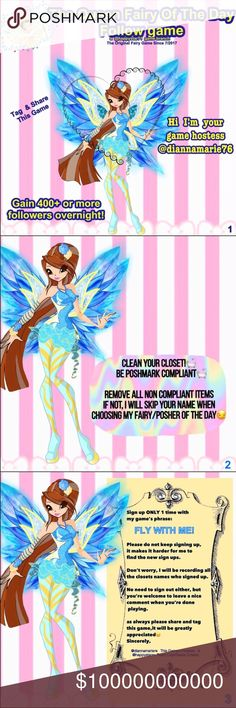Fairy 🧚♀️ Game🧚♀️ 🧚♀️Fairy 🧚♀️ Important Follow the followers of those targeted Fairies  🧚♀️Please see above slides for more info Finish by midnight. It only takes a few minutes. 🧚♀️Find the daily chosen posters on the listing description and on comments 🧚♀️A Group Follow, creates a wave of follows back The more you play, the better results. Invite all your PFF's to come and play. Accessories