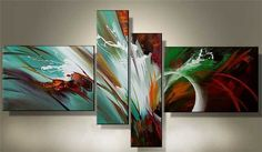 Free shipping hand painted Huge Wall Art Modern abstract oil painting canvas 4pcs/set-in Painting & Calligraphy from Home & Garden on Aliexpress.com