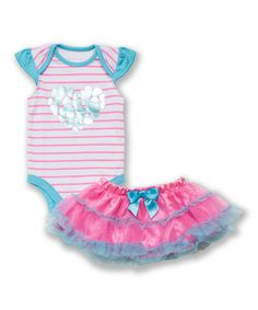 Another great find on #zulily! Pink Stripe Foil Heart Bodysuit & Ruffle Skirt - Infant #zulilyfinds