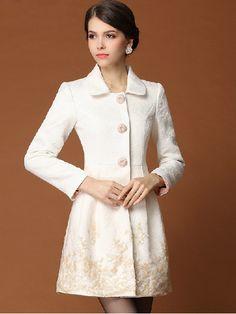 High Quality Elegant Embroidery Bottom Polo Collar White Coat