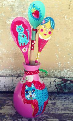 Cat folk Art on a upcycled Vase by evesjulia12 on Etsy