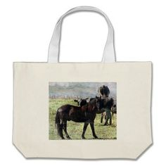 black horse and dairy cattle tote bags