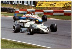 Bradns Hatch 1982, Derek Daly Williamw FW08 and Jacques Laffite Ligier JS19