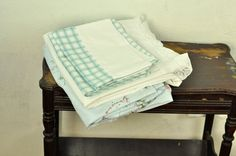Vintage Queen Sheet Set Remixed Linens Lace Edge Checks White & Blue Bedding Shabby Cottage by TheVelvetBranch on Etsy #vintagelinens #vintagebedding #vintagesheets #cottagechic