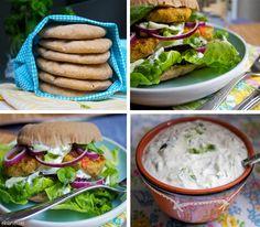Falafel, tzatziki og pitabrød