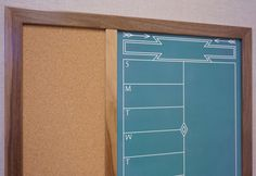 """Tailor Made Whiteboards makes stylish & functional dry erase boards, command centers, bulletin boards & custom organization stations for the home. Shown is Green """"Southwestern Chalkboard"""" Calendar with Cork Bulletin Board."""
