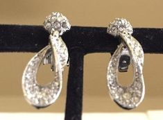 Bogoff Vintage Art Deco Clear Rhinestone Earrings, Vintage Wedding Wear, 1 Missing Rhinestone, Classic Pave Design, Set Completer, Dangles