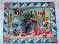 Very large Ocean Fantasy latch hook rug by LatchCrazy on etsy