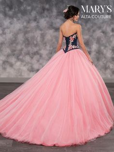 Denim Floral Top Quinceanera Dress by Alta Couture Bridal-ABC Fashion Ball Gowns Prom, Ball Gown Dresses, 15 Dresses, Bridal Dresses, Evening Dresses, Fashion Dresses, Pageant Dresses, Bridesmaid Dresses, Formal Dresses