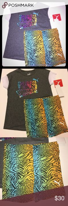 Puma 2 piece Set New with tags, girls 5, cute spandex shorts with matching top Puma Matching Sets