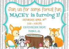 WOODLAND Animal Birthday Party Invitation with Birch Tree Background | Teal | Fox | Squirrel | Deer by PerfectedbyGrace on Etsy