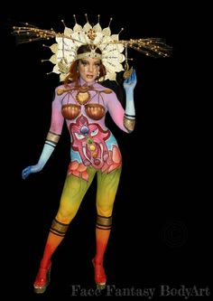 """1st place winner at DFBW 2017.    Competition theme: Happiness is....  Bodypaint """"Hamony""""   Artist: Merel Wismeijer Model: Roxanne Rosa Photo: Face Fantasy BodyArt"""