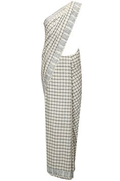Ecru checkered print sari by Urvashi Kaur. Shop at: http://www.perniaspopupshop.com/designers/urvashi-kaur #sari #urvashikaur #shopnow #perniaspopupshop