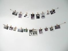 DIY photo hanger materials: -rope 1 -clips a lot -photo How: -first tie the rope to a 2 hangers. ( i use my bed) -take some clips and photo's then clip the photo's to the rope Hope This Help. Polaroid Pictures Display, Polaroid Display, Hanging Polaroids, Hanging Pictures, Photo Polaroid, Polaroid Wall, Picture Hangers, Picture Wall, Photo Wall