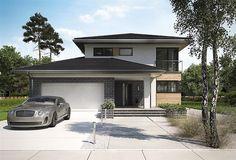 Projekt domu piętrowego o pow. 164 m2 z obszernym garażem, z dachem kopertowym, z tarasem, sprawdź! My House Plans, American Houses, Village Houses, Garage House, Architect House, Deck Design, Future House, Architecture Design, Design Case
