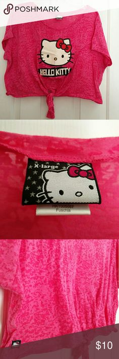 Hello Kitty Pink Fushia Tie Crop Trop XL Sanrio Hello Kitty Pink Crop Top - used - no tears, marks or discolorations - front tie Sanrio Tops Crop Tops