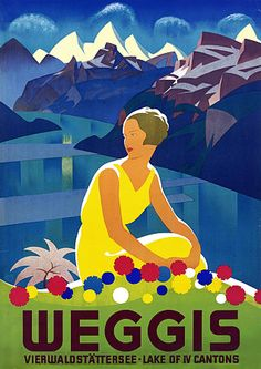 Weggis Switzerland by Moos 1932 Vintage Travel Poster
