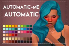 Sims 4 Hairs ~ Weepingsimmer: Automatic-Me's Automatic hair recolored Sims 4 Mm, The Sims, Hair Pack, Sims Mods, Colour Pallete, Sims 4 Custom Content, Character Inspiration, Hair Color, Female Hair