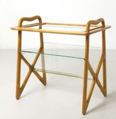 Ico Parisi; Maple, Glass and Brass Side Table for DE-Baggis, 1950s.