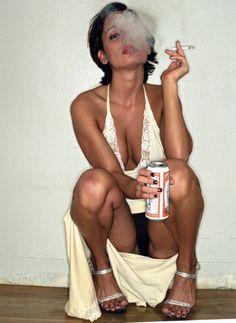 Busty plump readhead smoking
