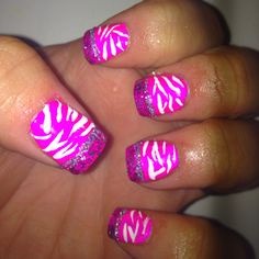Pink nails with white zebra print & sparkle tips