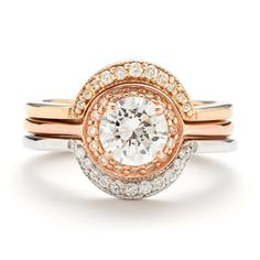 Rosette Trilogy with White Diamonds | Rose, White + Yellow Gold