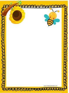 CARATULAS PARA WORD: LAS ABEJAS - SOCIEDAD EN LA COLMENA Bee Clipart, Bee Activities, Bee Invitations, Page Borders Design, I Love Bees, School Scrapbook, Bee Movie, Bee Cards, Cute Bee