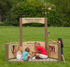 Weather Station Learning Center for the preschool playground. Includes thermometer, barometer, weather vane, rain gauge, and a panel for recording the weather for the week. Teach about the weather outdoors!