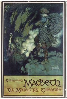 turnofthecentury:  Poster for 'Macbeth' by William Shakespeare at His Majesty's Theatre, LondonColour lithograph - Illustration by Edmund Dulac - c. 1911