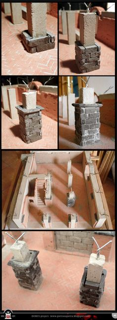 Domus project 12: Stone pillars with slate and concrete http://pietrasupietra.blogspot.com/2012/01/construction-11-stone-pillars.html  The Domus project is the construction in scale 1:50 of an imaginary medieval palace. It's made of clay, stones, slate, wood and other construction materials in the style of rich genoese buildings from the middle of XIV century.