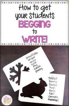 How to Get Your students Begging to Write! Strategies and activities to help emergent or reluctant writers love to write. A perfect support for kindergarten, first grade, second grade, or english language learners. Writing Strategies, Writing Lessons, Teaching Writing, Teaching Ideas, Writing Prompts, Writing Tips, Sentence Writing, 4th Grade Activities, Kindergarten Writing Activities