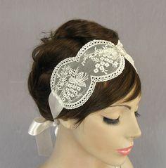 Venetian lace bridal headband, ivory cream, vintage style, handmade. $44.00, via Etsy.
