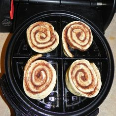 Canned Cinnamon Roll Waffles: Heat up your waffle maker and grease it with a bit of non-stick spray. Separate your rolls then place them into a Belgian Waffle Maker. Close the lid and press down slightly.    Set the timer for 2 1/2 – 3 minutes.