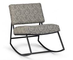 Old fashioned rocking chair comfort and updated vintage style: the Franklin Rocking chair is cushioned in high-grade foam and upholstered in a graphic retro fabric; the metal frame is in a lustrous dark Pipe finish. #austincollection #arthomefurnishing #rockingchair #livingroom #livingroomfurniture #retro