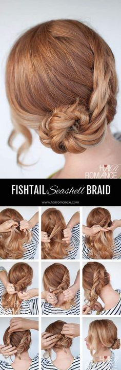 Fishtail seashell braid; Get the scoop on these wedding hairstyle tutorial looks from Hair Romance's amazing blog. hairromance.com