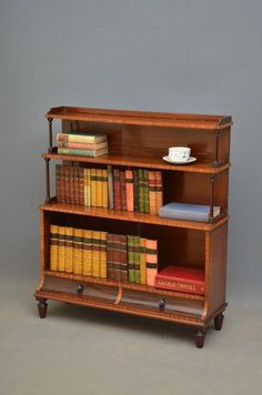 Late Victorian Waterfall Bookcase in Mahogany