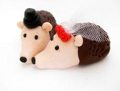 Hedgehogs Wedding Cake Topper bride and groom