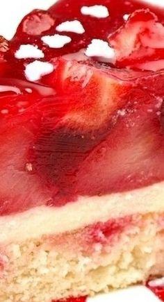 Strawberry Jello Custard Layer Cake