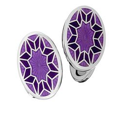 English Enamel Flower Pattern Cufflinks