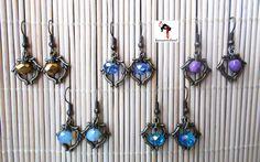 Pendientes con filigranas en bronce y cuentas de cristal de kanzashilandShop en Etsy