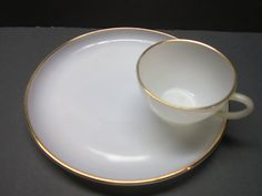 Vintage Snack Set Fire King Milk glass 8 peice by PriorMemories, $35.00