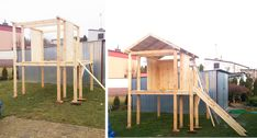Domek dla dziecka- zbuduj go sam! - Refreszing Playground, Shed, Outdoor Structures, Patio, Diy, Bricolage, Children Playground, Lean To Shed, Terrace