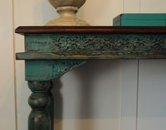 This item is sold and listed as an example of my work only.  This versatile occasional/console table would fit many different styles. Could also be used as a buffet in a small dining room. Shabby chic, eclectic, boho- this little gem will make a great statement piece for your home.  It has been hand painted with a variety of Annie Sloan Chalk Paint shades of blue. I sealed it with an antiquing glaze.  Dementions: 48Lx 31Hx 18D  *****SHIPPING IS NOT INCLUDED. THE SHIPPING COST LISTED IS ...