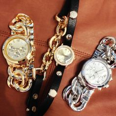 Complete your look with these fabulous timepieces! Everyday Look, Bling Bling, Bracelet Watch, Jewlery, Jewelry Accessories, Urban, Handbags, Watches, Chain