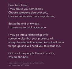 tere bina bchon wala e ni haiga koi.😘😘😘😳😳😳😭😭😭I misss uuuu Best Friend Love Quotes, Dear Best Friend, Besties Quotes, Cute Quotes, Funny Quotes, Best Friendship Quotes, Heartfelt Quotes, People Quotes, Quotations