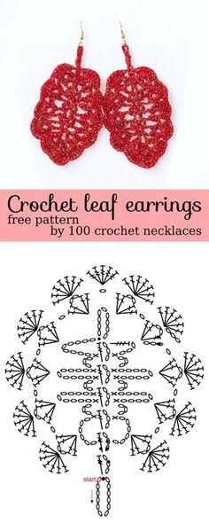 Leaf crochet earrings diagrams electrical work wiring diagram crocheted earring chart 4u hf crochetholic hilariafina rh pinterest com crochet cross earrings crochet earrings handmade mexican ccuart Gallery