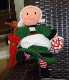 Bécassine - free knitting pattern by Anne-Marie Dentelle Knitting Dolls Free Patterns, Knitted Dolls Free, Doll Patterns, Free Knitting, Layette Pattern, Crochet Fruit, Filet Crochet, Knitting Projects, Doll Toys