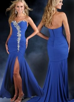 Trumpet/Mermaid Sweetheart Satin Sweep Train Blue Event Dress