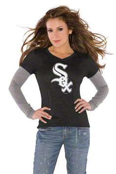 Chicago White Sox Black Women's Primary Logo Tri Blend Long Sleeve Layered T-Shirt- Touch by Alyssa Milano